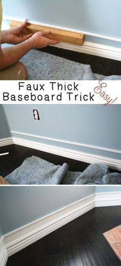 DIY Home Improvement On A Budget - Faux Thick Baseboard - Easy and Cheap Do It Yourself Tutorials for Updating and Renovating Your House - Home Decor Tips and Tricks, Remodeling and Decorating Hacks - DIY Projects and Crafts by DIY JOY http://diyjoy.com/diy-home-improvement-ideas-budget #homeimprovementcheap