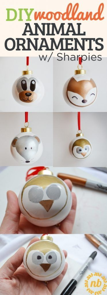 DIY Woodland Animal Ornaments with Sharpies via @NellieBellie