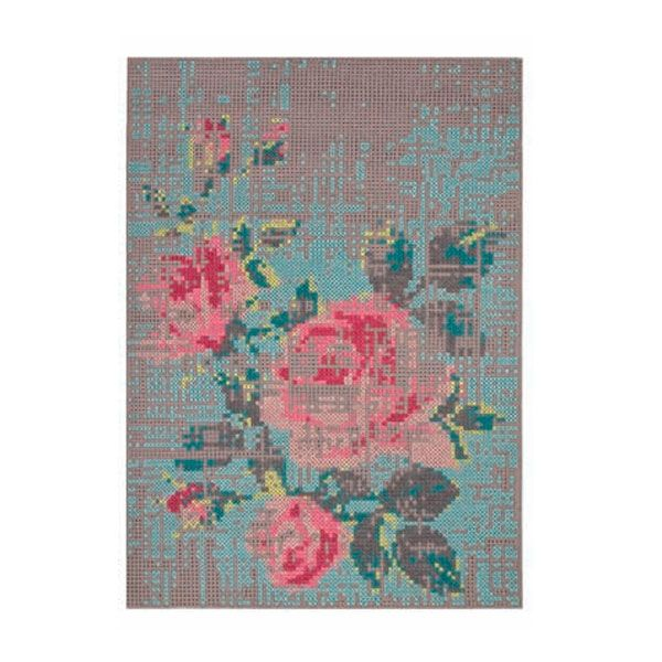 Alfombra Garden Layers Tartan Blue Gan Cross Stitch Hand