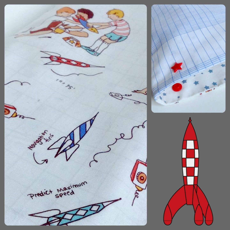 """Bouillotte sèche déhoussable , aux graines de lin BIO, tissu rétro/vintage multicolore petits garçon aux fusées. """"Cosmonaute"""" : Soin, bien-être par kissa-mania"""