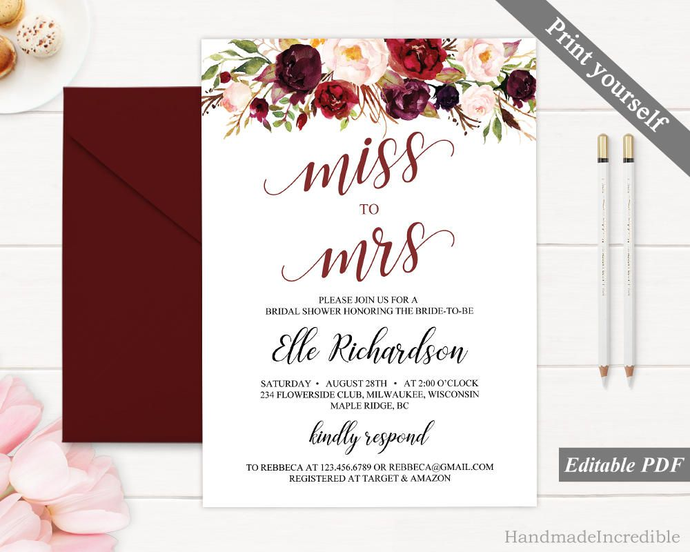 Marsala Miss to Mrs Invitation Template Printable Floral Bordo ...