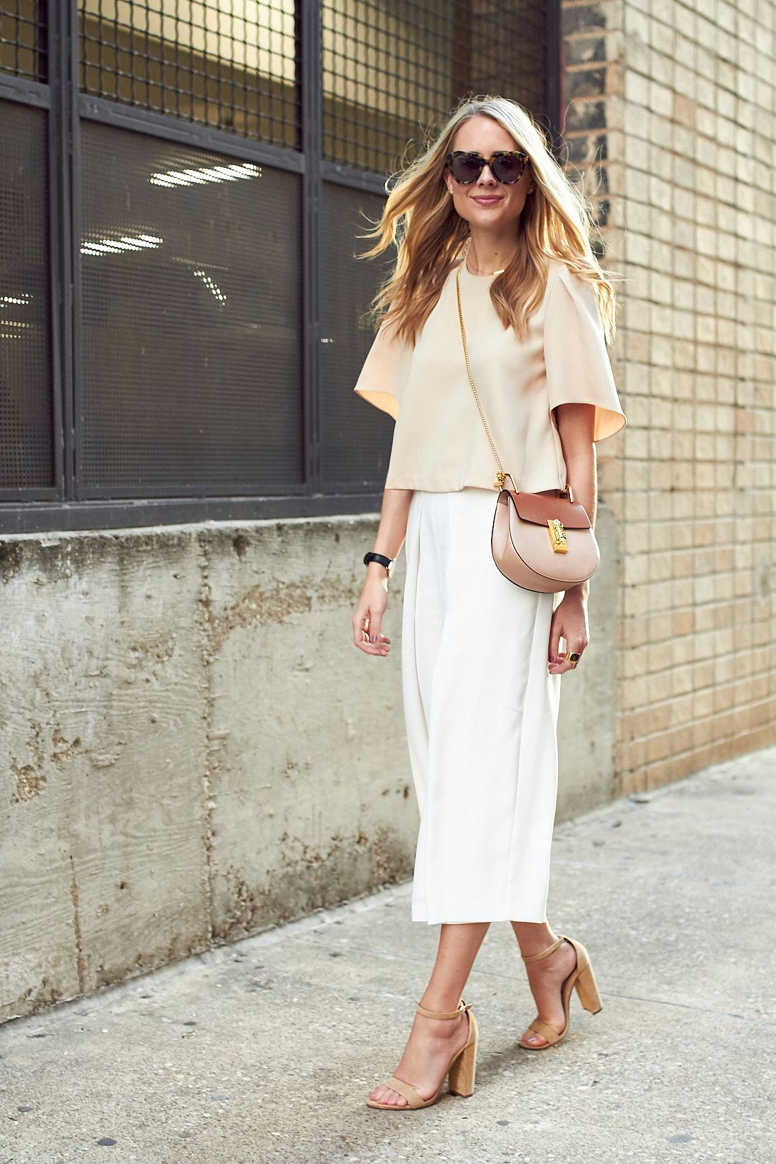 255e2f3e2bbe fashion-jackson-beige-blouse-white-culottes-tan-sandals-chloe-drew-handbag- karen-walker-sunglasses