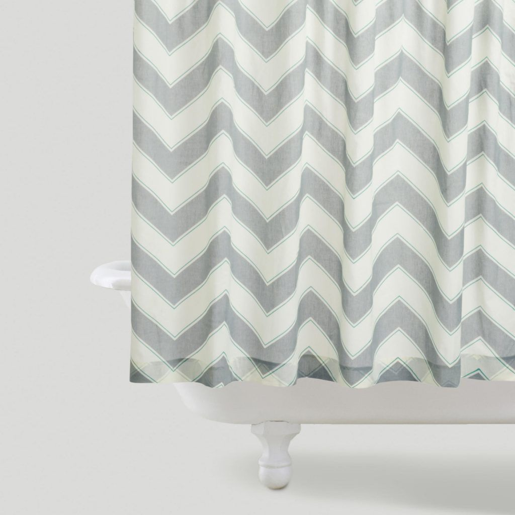 Etonnant Pink And Grey Chevron Shower Curtain