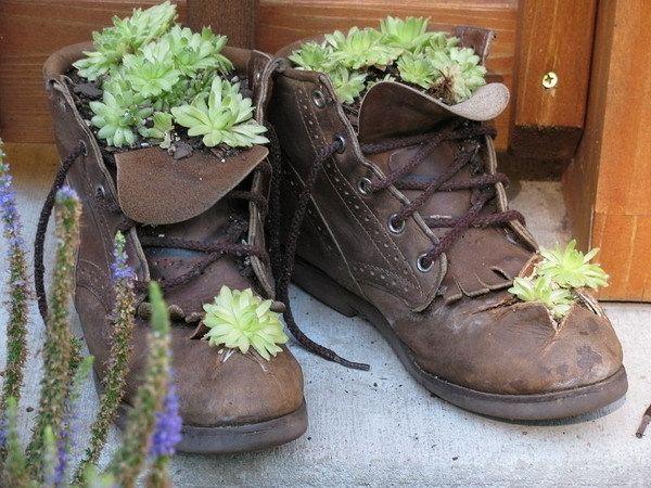 Schuhe-bepflanzen-ideen-sukkulenten-deko-garten- | Garten | Pinterest Alte Schuhe Bepflanzen Originelle Pflanzgefase Garten