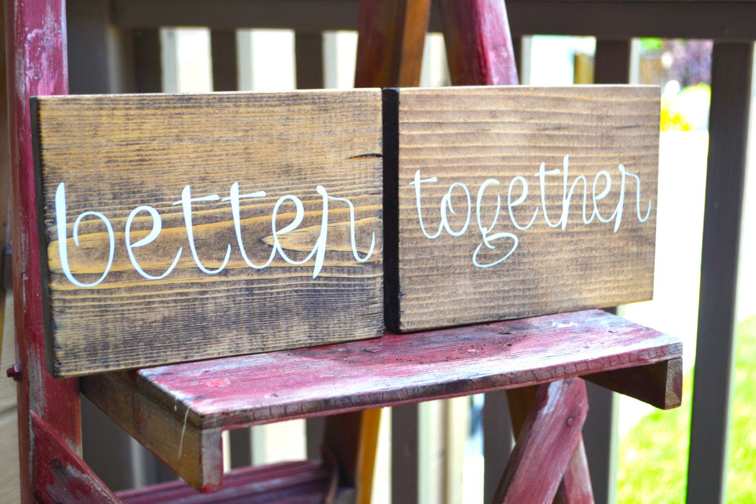 Better Together Signs Rustic Wedding Signs Sweetheart Table Signs Mr and Mrs Wedding Chair Signs (19.00 USD) by MintageDesigns