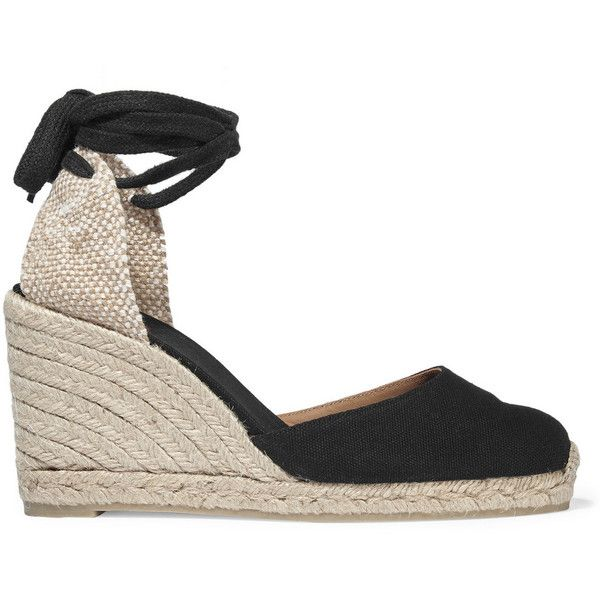 61b2e589b0e CASTAÑER Carina canvas wedge espadrilles Wedge heel measures approximately  3 inches Black canvas Ties at ankle Imported