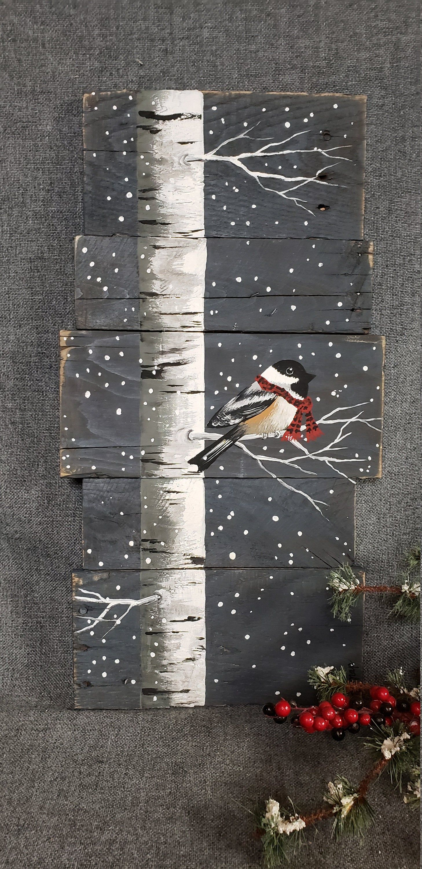Christmas painting on pallet wood, White Birch and bird with red scarf, Red buffalo plaid scarf, hand painted Christmas decor on wood