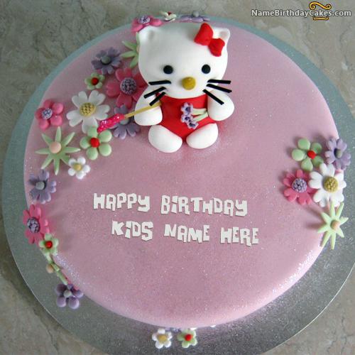 Write name on Kitty Birthday Cake For Kids - Happy Birthday Wishes ...