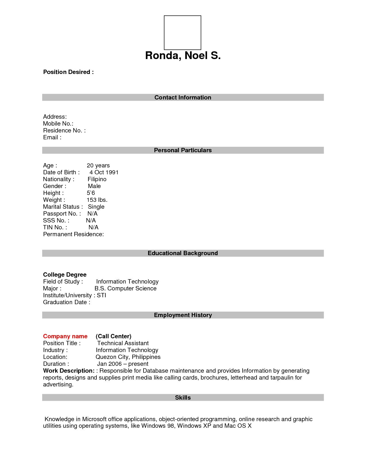 sample blank resume form cover letter free academic template
