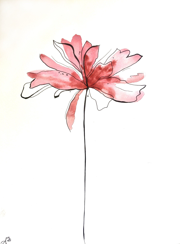 ORIGINAL WATERCOLOR PAINTING. One of a kind. Aquarelle artwork. Flower Botanical Illustration, Floral Watercoler, Botanical Home Decor, #etsy #painting #watercolour #pink #flower #flowers #leaf #leaves