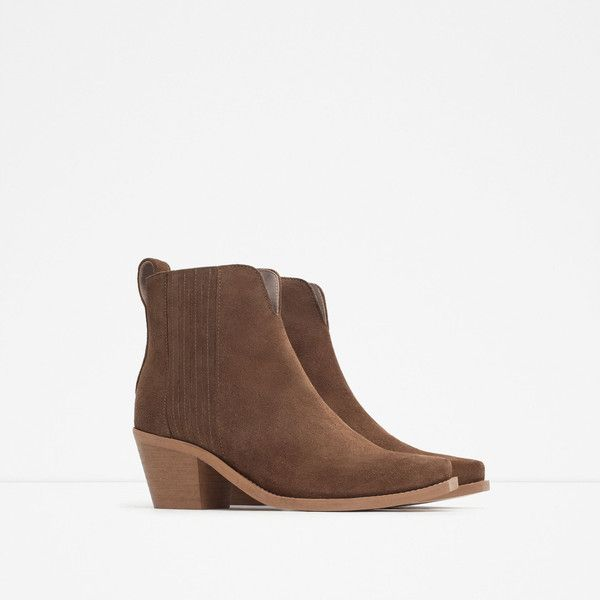 Zara Leather Western Booties (£31) ❤ liked on Polyvore featuring shoes, boots, ankle booties, genuine leather boots, leather ankle booties, leather western boots, cowgirl boots and shearling-lined leather boots