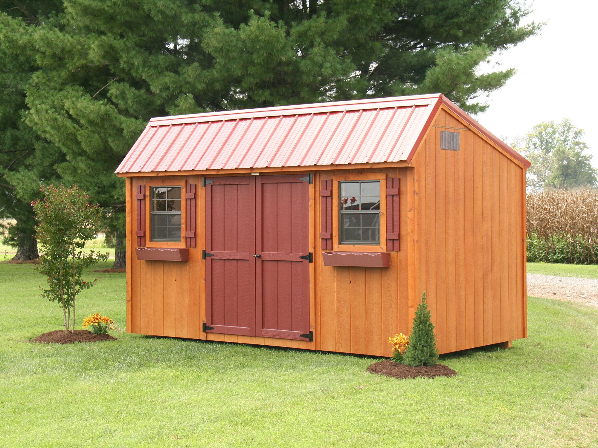 Saltbox style storage shed