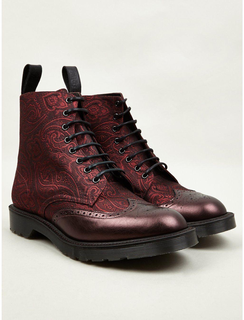 abe01de4741 Dr Martens - Men s Cherry Red MIE Calder Paisley Silk Boots
