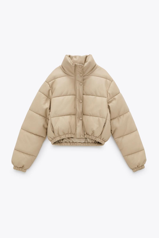 Faux Leather Padded Jacket Zara United States Padded Jacket Jackets Puffer Jacket Outfit [ 1500 x 1000 Pixel ]