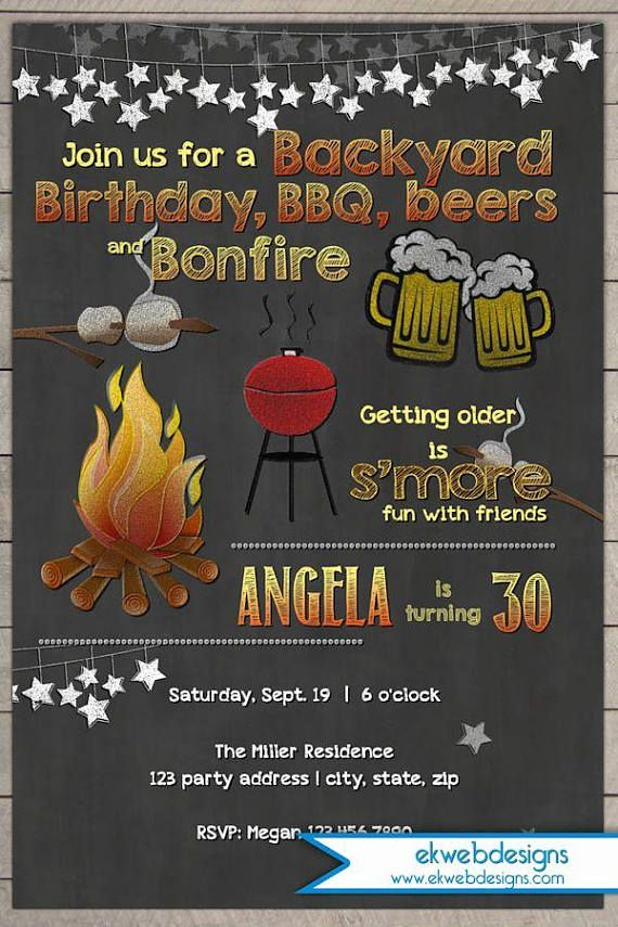 Backyard Bonfire Birthday Invitation - BBQ Birthday Invitation ...