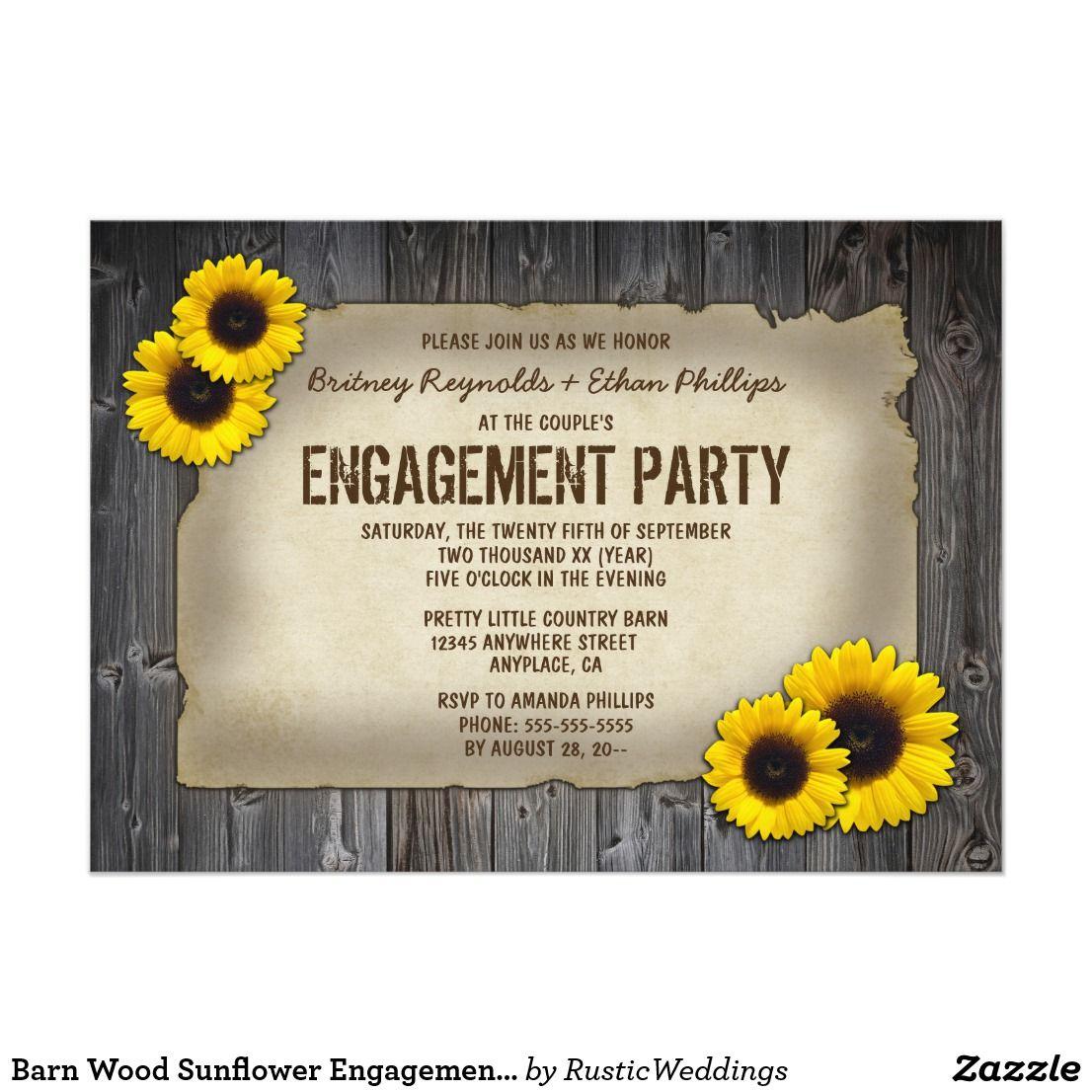 Barn Wood Sunflower Engagement Party Invitations Vintage Barn Wood ...