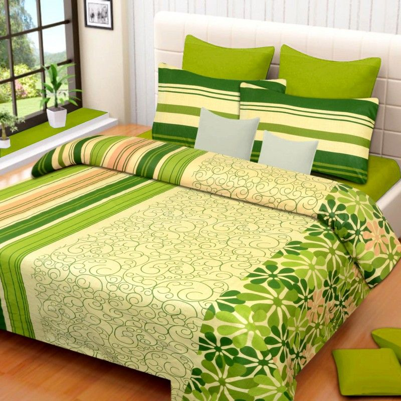 Printed Bed Sheets Designs Cotton Green Double Sheet