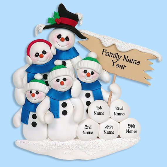 Snowman Family Of 5 Handmade Polymer Clay Personalized Christmas Ornament Polymer Clay Christmas Personalized Christmas Ornaments Clay Ornaments