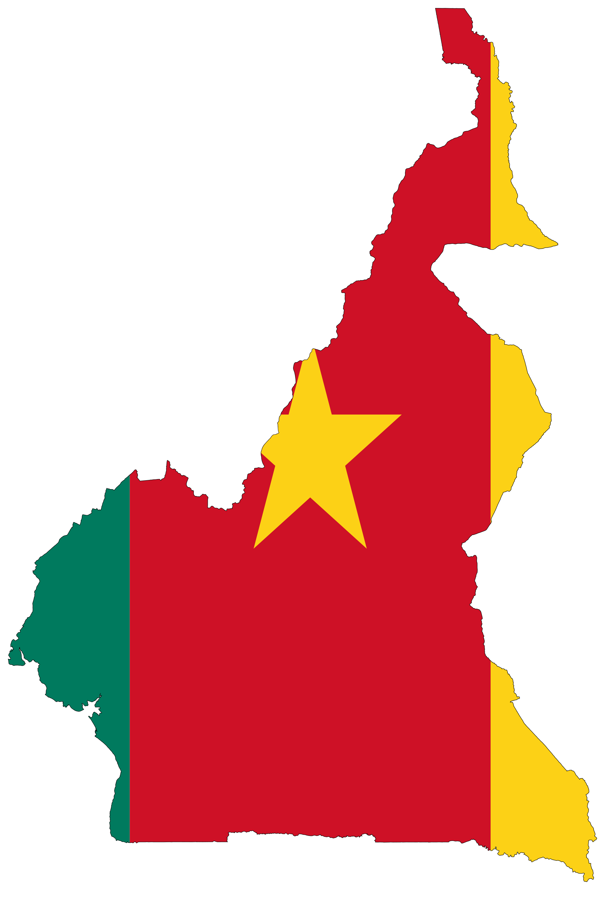 Flag map of cameroon home at one point