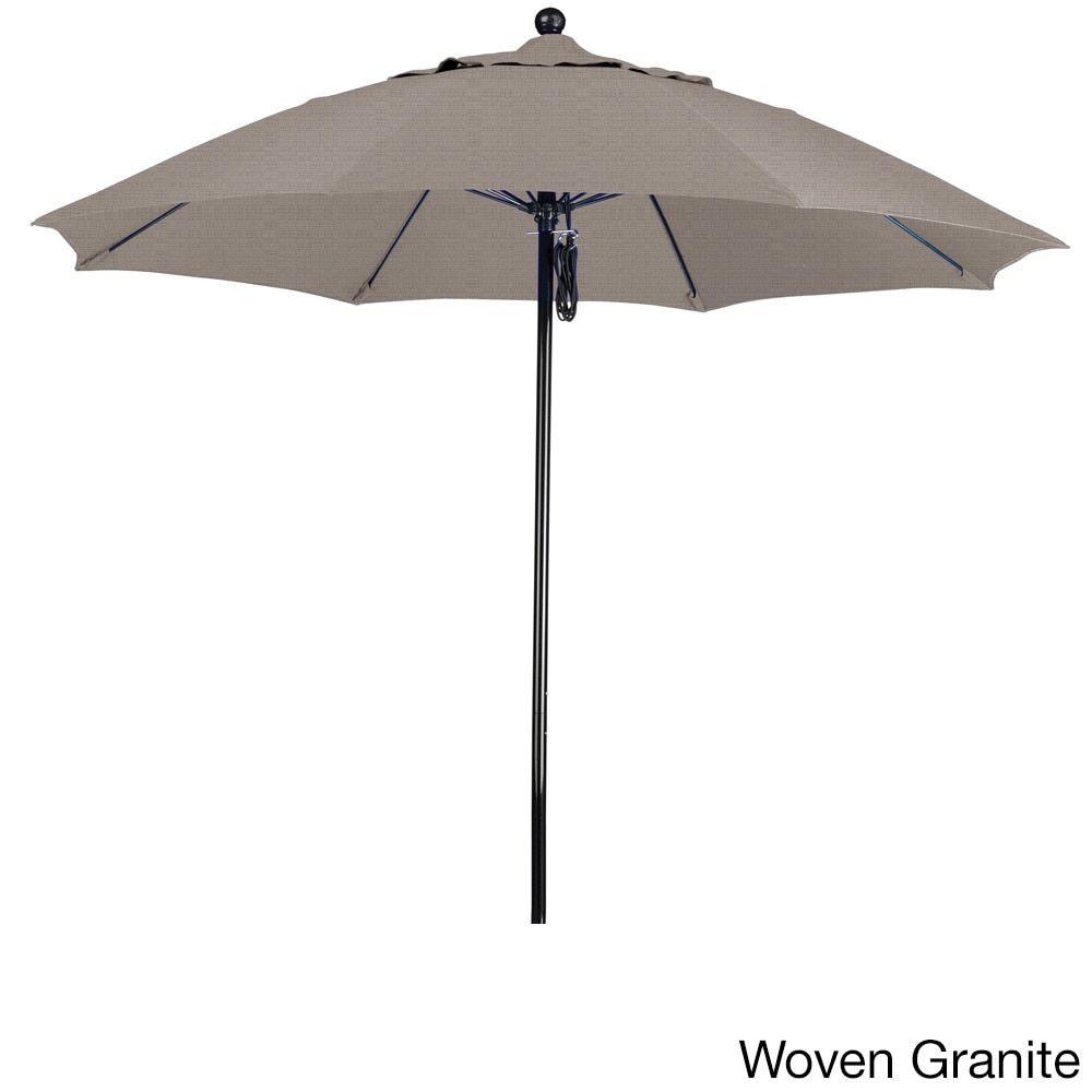 California Umbrella 9' Rd. Fiberglass Frame/Rib Commercial Market Umbrella, Push Lift System, Black Finish, Olefin Fabric (