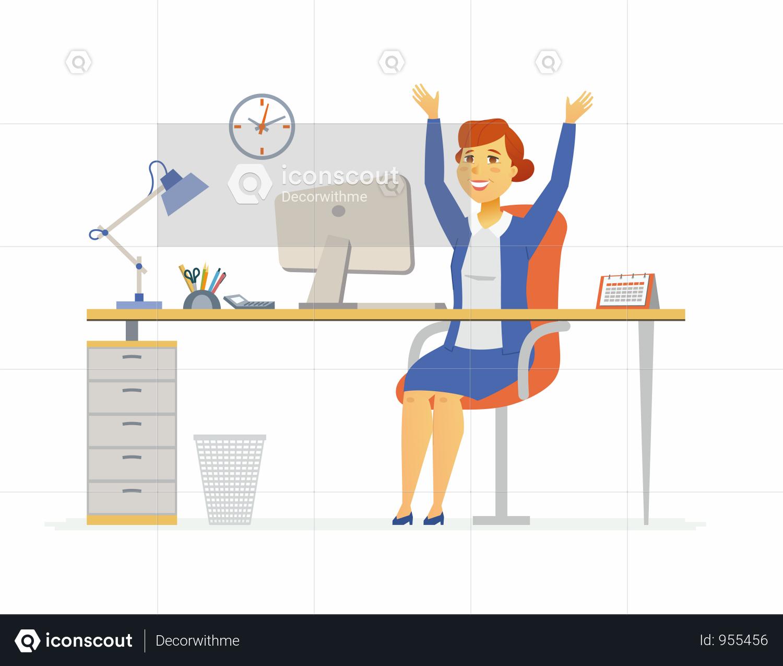 Premium Happy Office Worker Illustration Download In Png Vector Format Business Illustration Illustration Design Resources