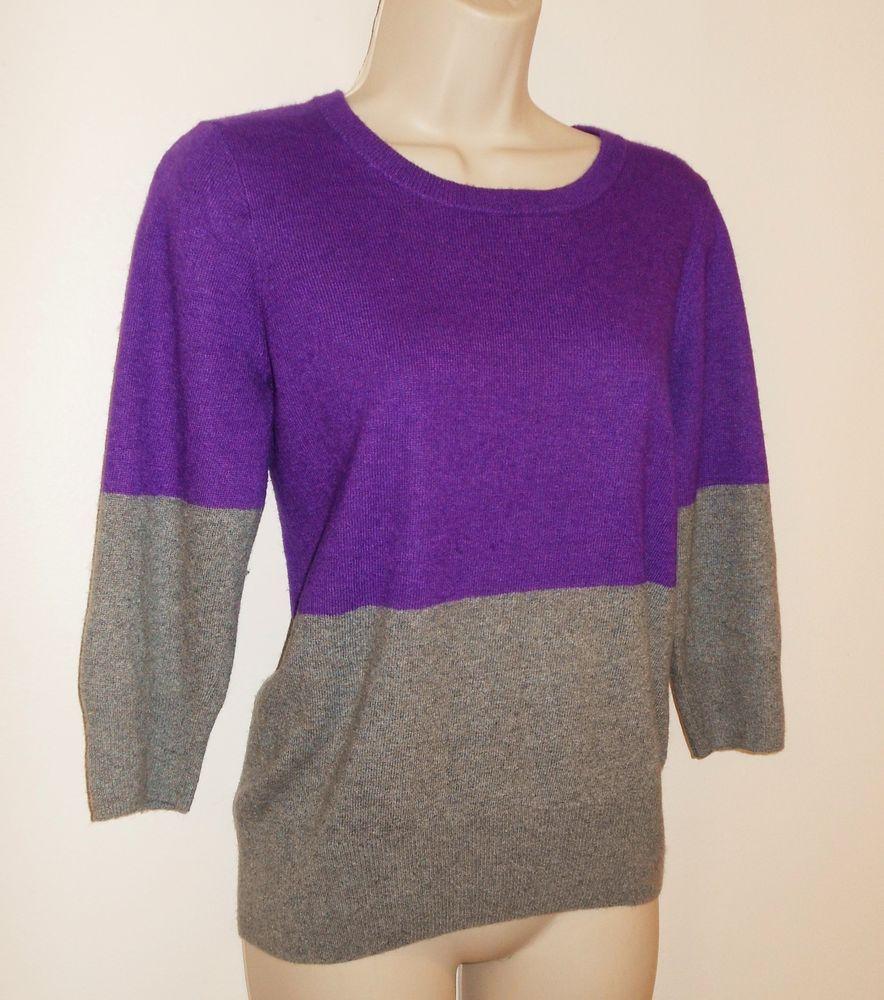 J Crew Sweater M Merino Wool Blend Purple Gray Medium Womens #JCREW #Pullover