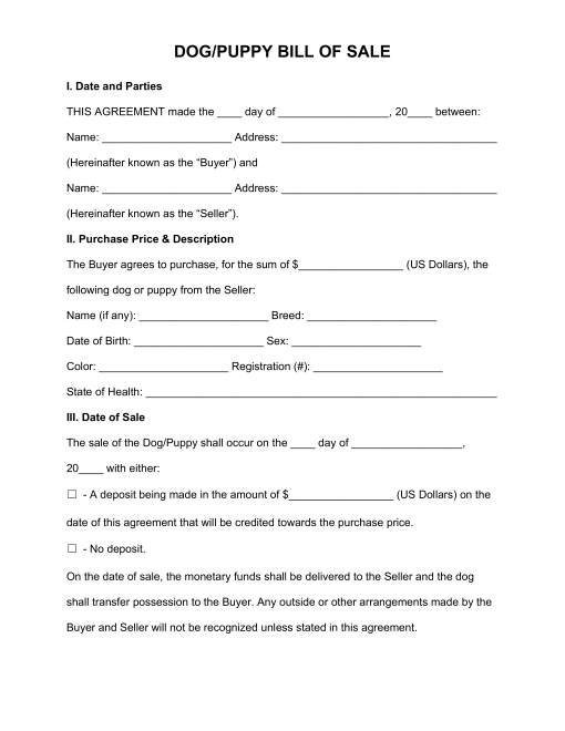 Free Dog X2f Puppy Bill Of Sale Form Pdf Word Eforms Free Fillable Forms Whelping Puppies Puppies Dogs And Puppies