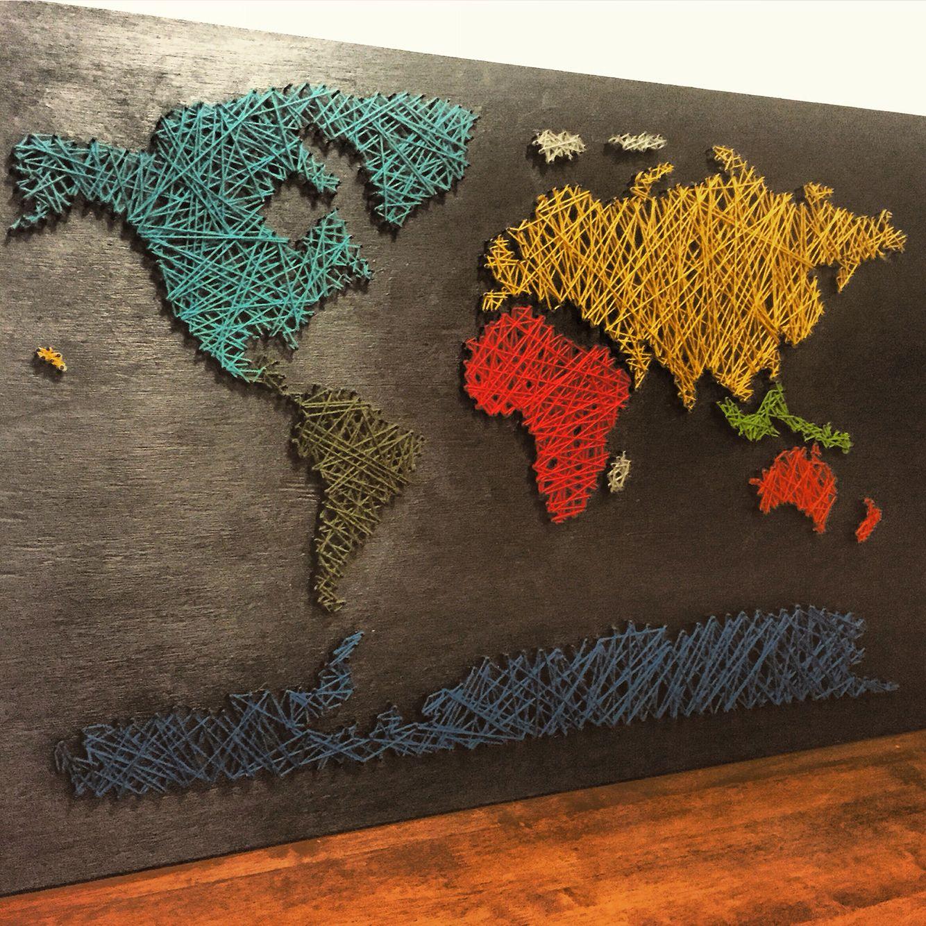 World map string art world map pinterest string art and craft world map string art gumiabroncs Images