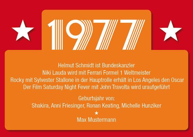Einladungskarte Zum 40. Geburtstag: 1977 Ereignisse .