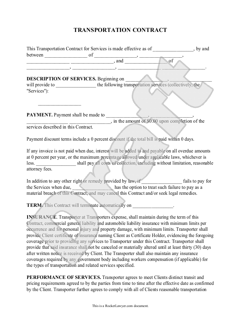 Sample Transportation Contract Form Template Contractor