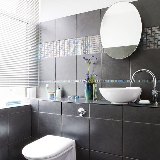 Black Bathroom Large Black Tiles Make A Bold Statement. White Bathroom  Fittings Contrast Well With Part 33