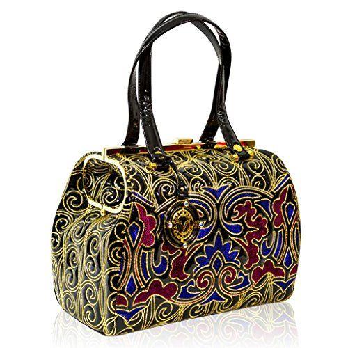 11adc65f5908 Valentino Orlandi Italian Designer Blue Red w Gold Embroidery Leather Large  Bag - Handbag