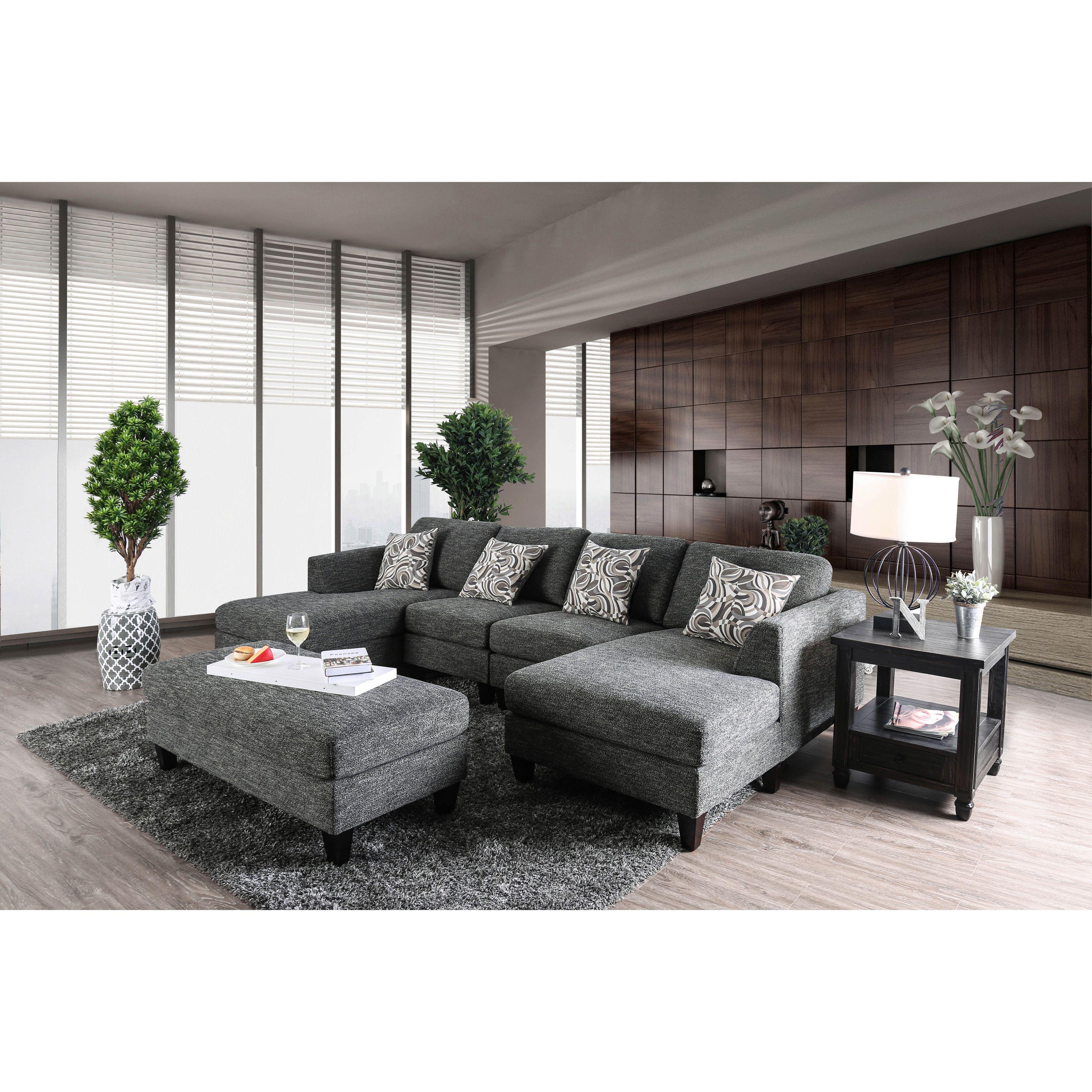 Furniture of America Breckenridge Grey 4-piece Chenille Modular ...