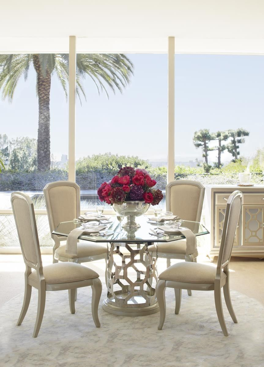 Aico After Eight 60  Round Dining Table with Octagonal Shaped Glass Top in Pearl 19001-101-08 & Aico After Eight 60