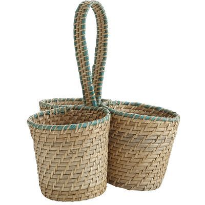 Throwing a party is as easy as 1-2-3 with our three-sided utensil caddy. Woven of natural rattan and accented with a festive shade of turquoise, it's ready to tote spoons, forks and knives with an easy-to-grip handle.