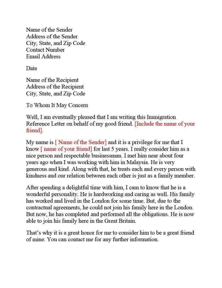 Immigration Letter Of Re Mendation Letter