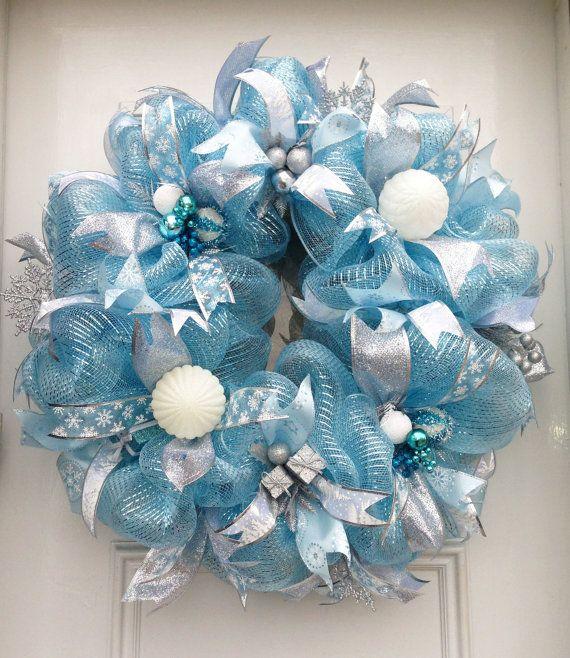 Light Blue Christmas Winter Deco Mesh Wreath Blue
