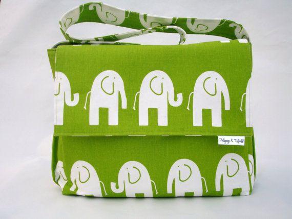 "Diaper Bag for Boy or Girl - ""Elephant Parade""  by pollywogsandtadpoles"