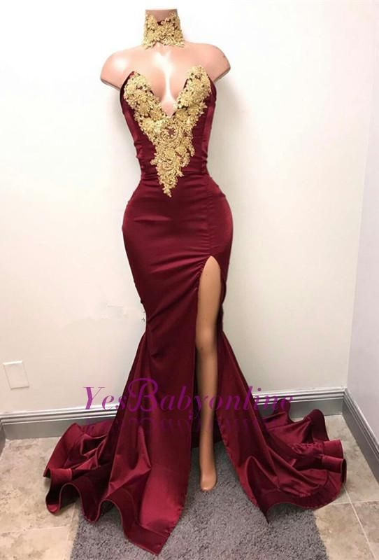 0f3a1a50ae5 Gorgeous Burgundy Mermaid Prom Dresses Gold Lace Appliques Side Slit Evening  Gowns Wholesale Wedding Dresses
