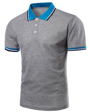 Color Block Splicing Design Turn-Down Collar Short Sleeve Polo T-Shirt For  Men