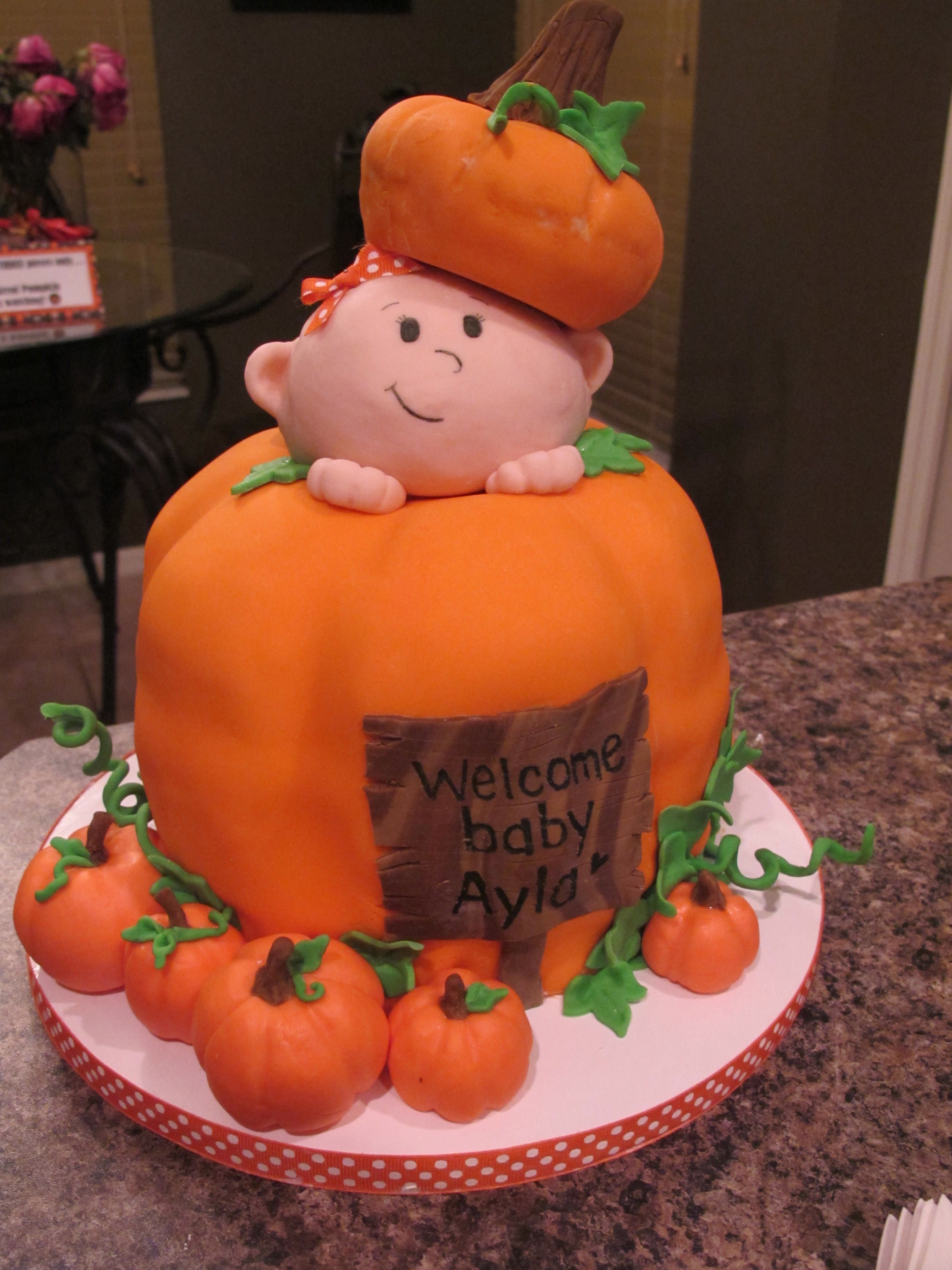Pumpkin Baby Shower Cake by Olive Parties | Baby shower ...