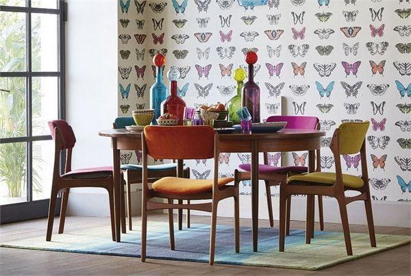 Papel pintado con mariposas
