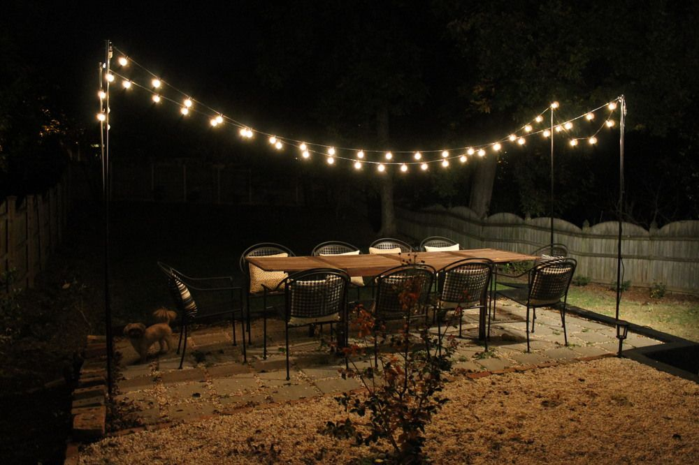 DIY String Light Patio Brooklyn house, Backyard and Patios
