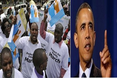 Don't Bring Gay Rights to Kenya, Obama Warned   Kenyan anti-gay protesters marched in Nairobi Monday warning US President Barack Obama not to speak about gay rights when he visits the country of his ancestors later this month.  - See more at: http://firstafricanews.ng/index.php?dbs=openlist&s=24597#sthash.6DpVvnK3.dpuf