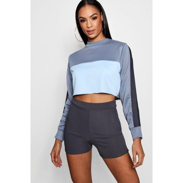 fb611a97577f3 Boohoo Keira Colour Block Crop Sweat ( 29) ❤ liked on Polyvore featuring  tops