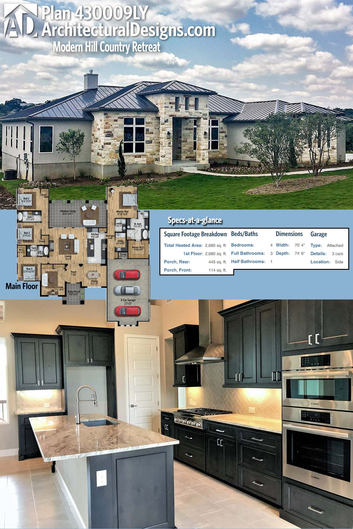 Plan 430009ly Modern Hill Country Retreat Country House Plans Modern House Plans House Plans