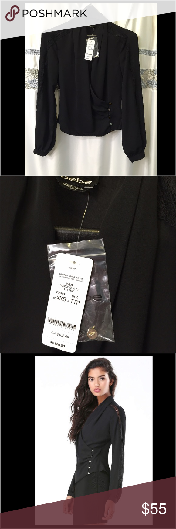NWT $89 Bebe Lace Trim Wrap Blouse Black XXS XS 0 New With Tags! $89 Bebe Lace Trim Wrap Blouse Black XXS XS 0 Chiffon  Condition: New With Tags!  Authentic Brand: Bebe  Size: XXS (Will fit XS too)  Color: Black  ~  This elegant georgette blouse is flawless from graceful surplice bodice to button-cuff blouson sleeves.    ~  Neck-to-cuff crochet lace inset creates a refined handworked vibe.    ~  Inside tie closure.    ~  Front button-loop closures.  ~  100% Polyester (Polyester Chiffon)…