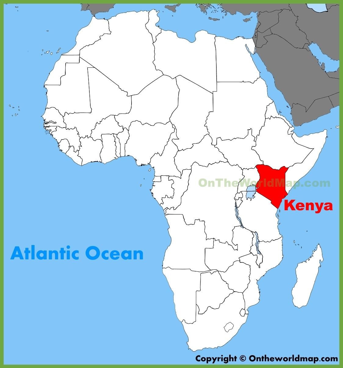 This is a picture of kenya on a map kenya is located in africa djibouti location on the africa map gumiabroncs Gallery