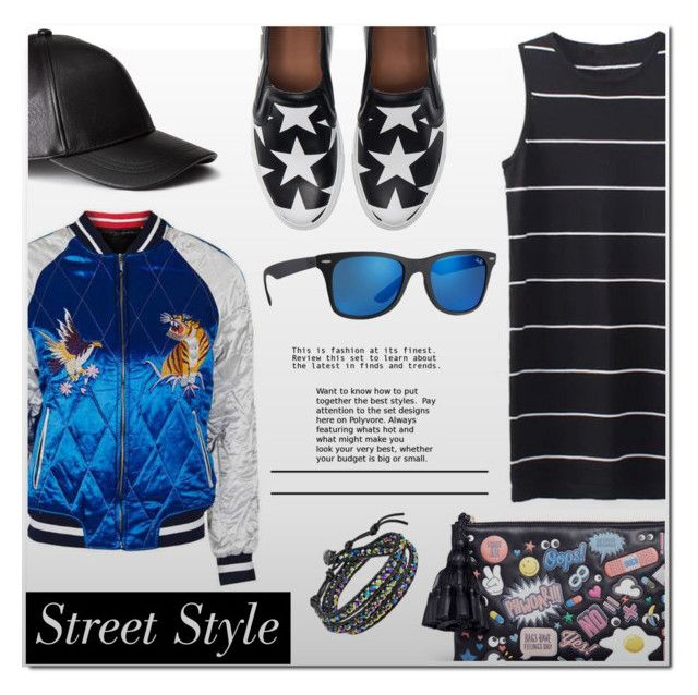 """Street Style"" by chubbycinth ❤ liked on Polyvore featuring Topshop, H&M, Anya Hindmarch, Givenchy, AeraVida and Ray-Ban"