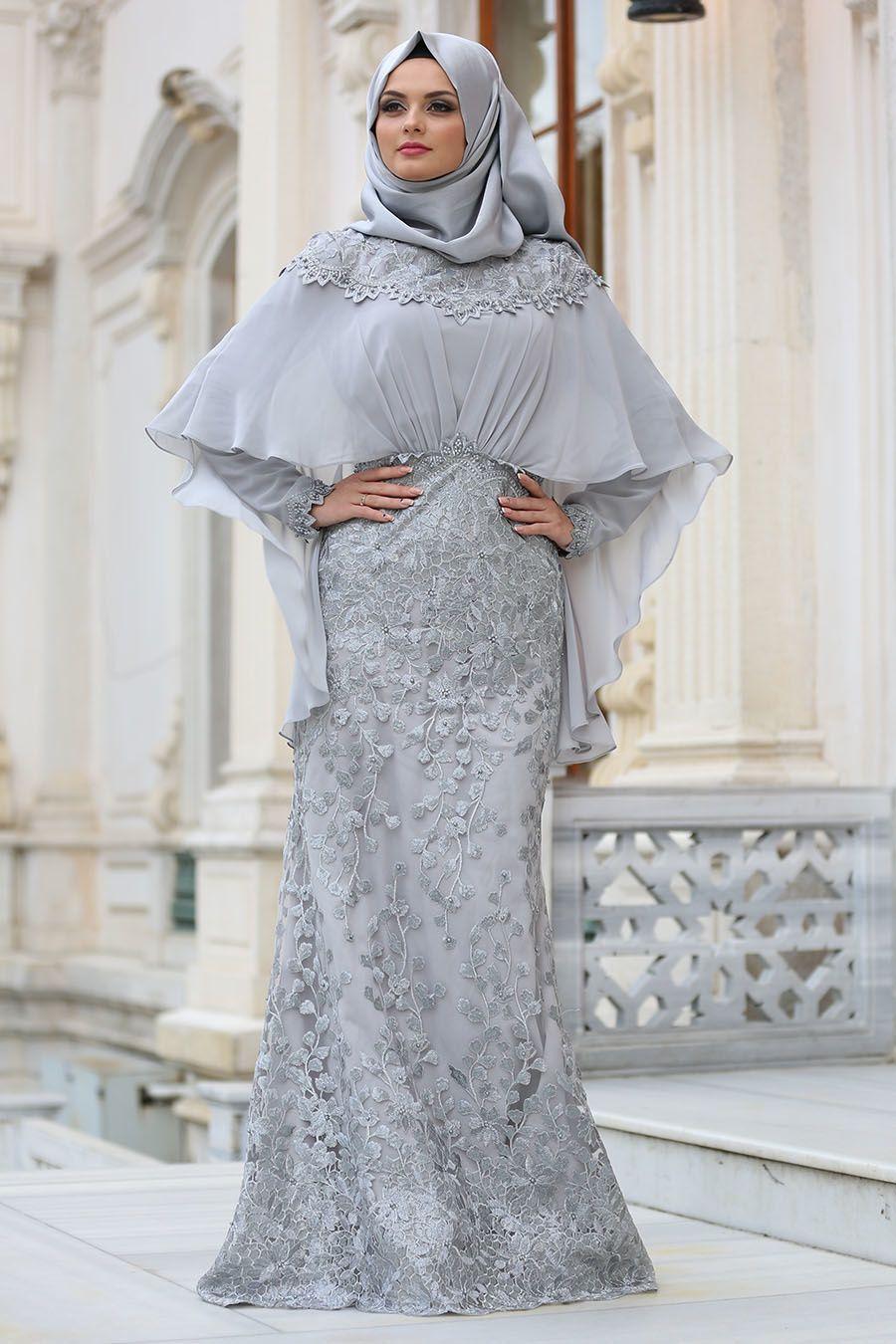 Tesetturlu Abiye Elbise Pelerinli Gri Tesettur Abiye Elbise 4417gr Tesetturisland Com Elbise Basortusu Modasi Elbiseler
